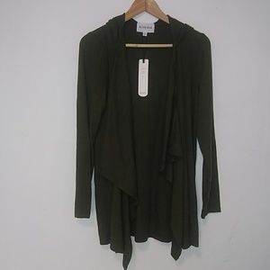 NWT Olive + Oak Cotton Blend Open Front Cardigan